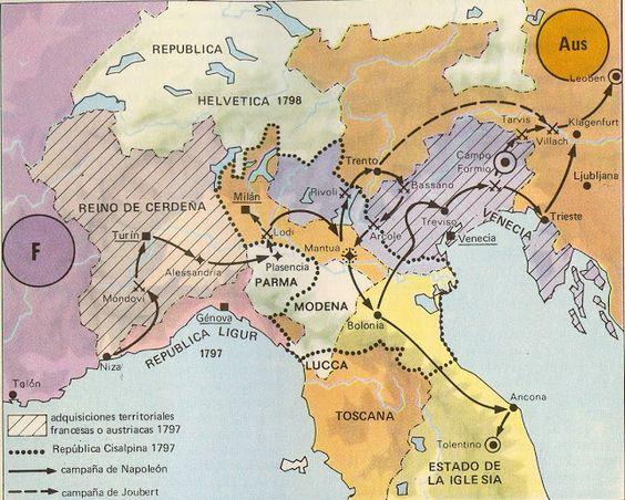 Campaña italiana de Napoleón. Atlas de Historia, edit. Istmo