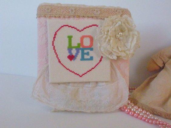 Shabby Chic Valentine Hanging Art LOVE Cross Stitch by CraftyMJC