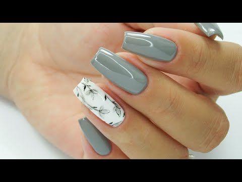 Grey Nails Grey Nails Art Tutorial Step By Step Grey Flowers Nails Art Tutorial Szare Paznokcie Szare Kwiaty Hyb Trendy Nails Purple Manicure Grey Flowers