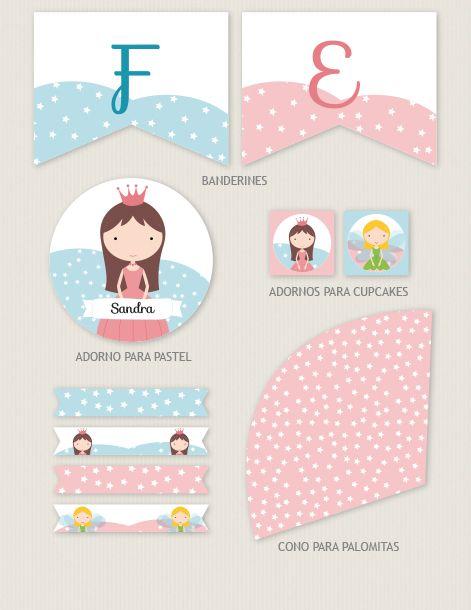 Colección de imprimibles Princesa para fiesta infantil