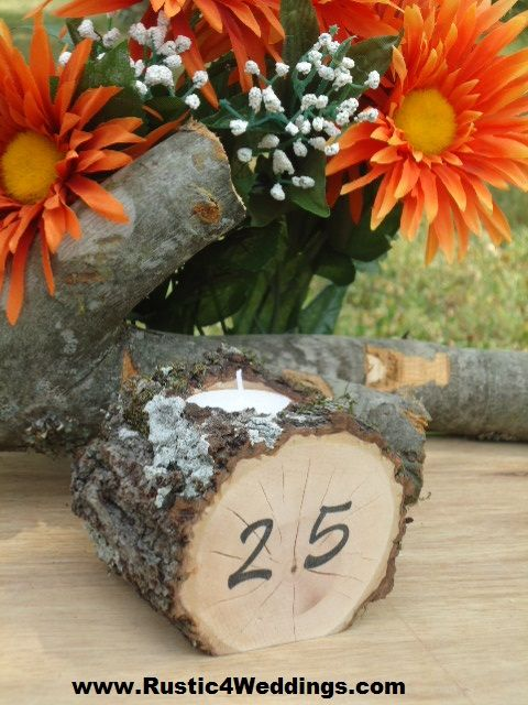 Rustic 4 Weddings: Rustic Wedding Table Number Candle Holders