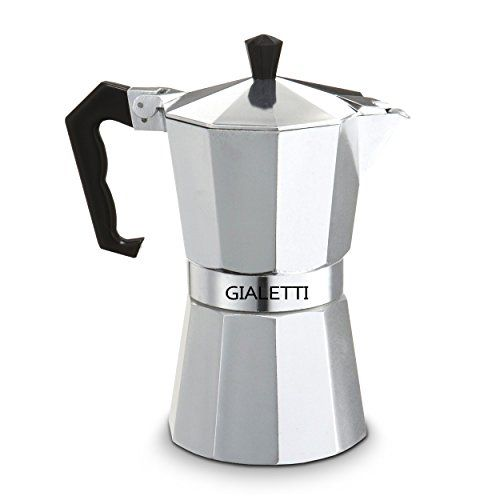 Special Offers Gialetti Stovetop Espresso Pot Italian Coffee Maker Guaranteed Unique Shape Promotes Uniform Heat Diffusion Enhances Aromasilver Color