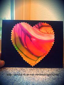 """De tout et de rien: Activités pour le Préscolaire: La technique du """"spin art"""" avec un couvercle pour créer une carte de St-Valentin"""