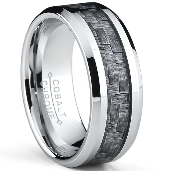 High Polish Cobalt Men's Wedding Band Engagement Ring W/ Gray Carbon Fiber Inlay, Comfort Fit SZ 7