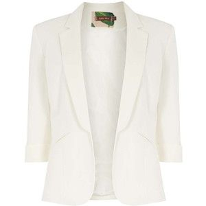 **Jolie Moi Cream 3/4 Sleeve Open Blazer