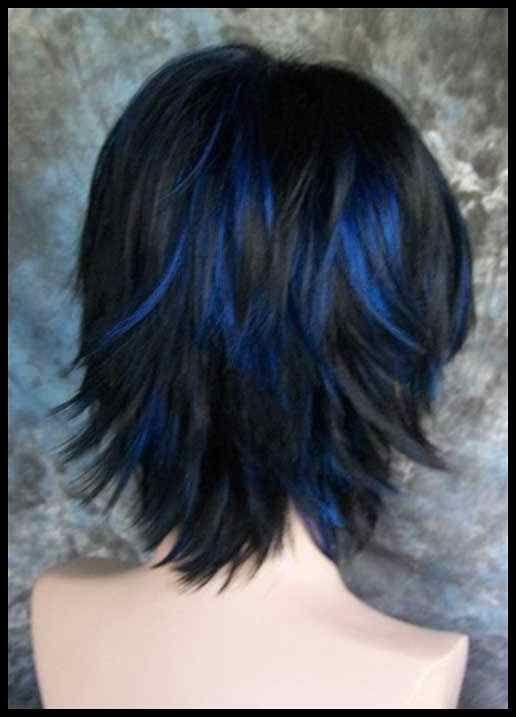 Zwart Haar Met Blauwe Highlights Korte Kapsels Hair Color And