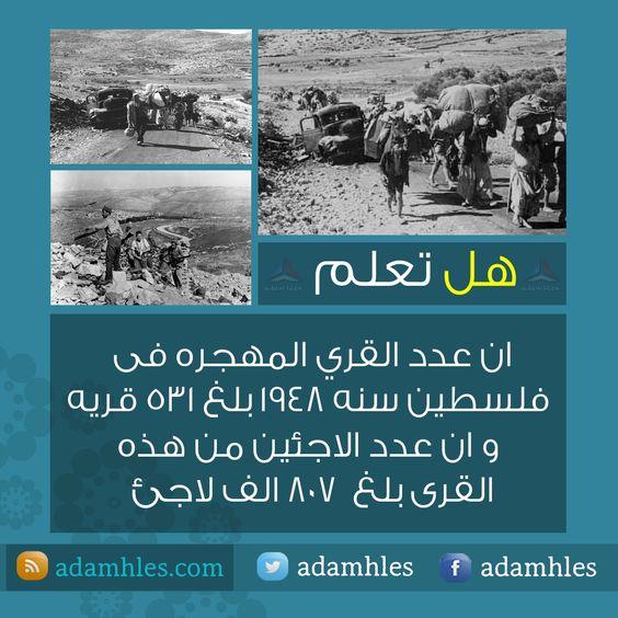 هل تعلم عدد القري المهجره في فلسطين سنه 1948