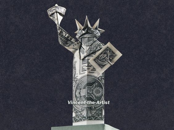 statue of liberty money origami money dollar origami pinterest statue of money origami. Black Bedroom Furniture Sets. Home Design Ideas