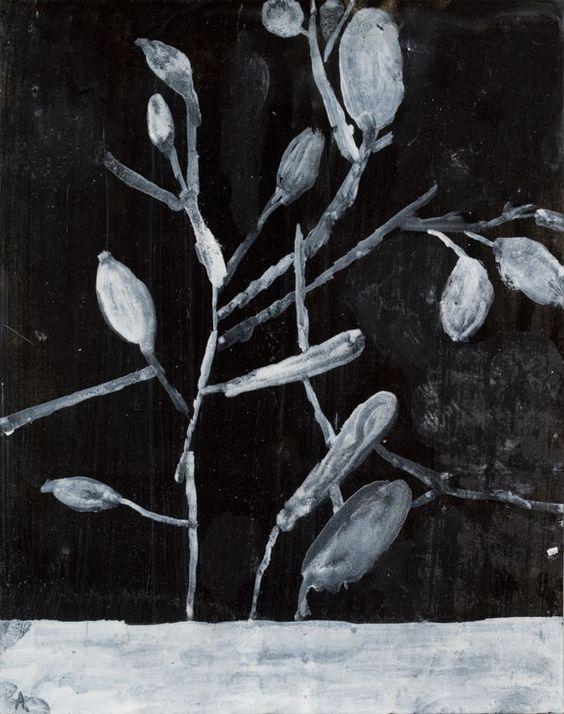 MARTIN ASSIG  b. 1959    Gewächs, 2010    encaustic on paper; (24 x 17,5 cm)