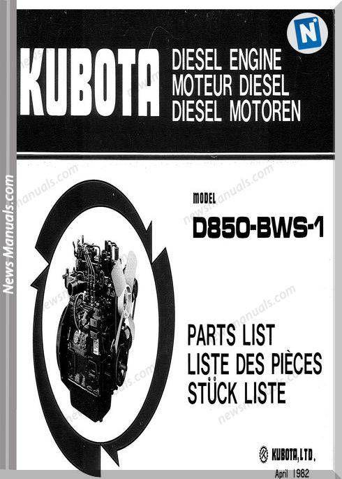 Kubota Engine D850 Bws 1 Parts Manuals