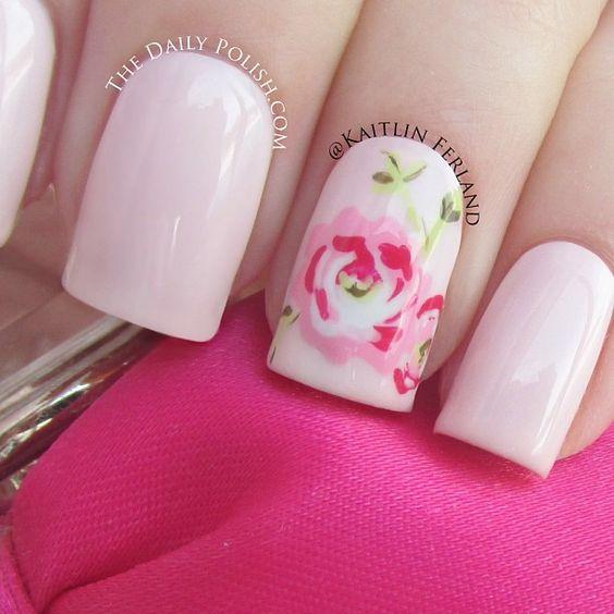 Beautiful rose design nail polish