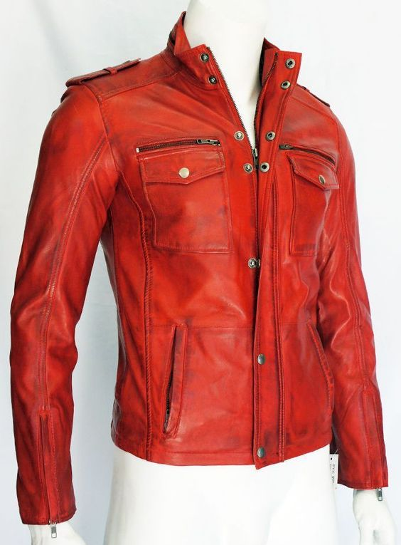 Mens 5540 Gents Red Designer Real Sheep Nappa Soft Lambskin Leather Jacket in Clothes, Shoes & Accessories | eBay