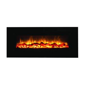 "Amantii 50"" Wall-Mount Black Glass Electric Fireplace"