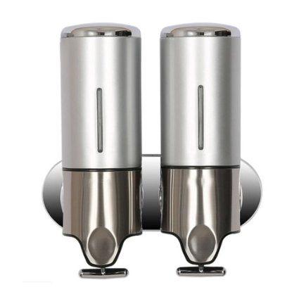 Simwood™ 500ml Wandmontage Edelstahl Seifenspender Lotionspender Shampoospender Gelspender Seifen Lotion Shampoo Gel Spender Dispenser für Badezimmer Küche Hotel (2 Flaschen) Silber
