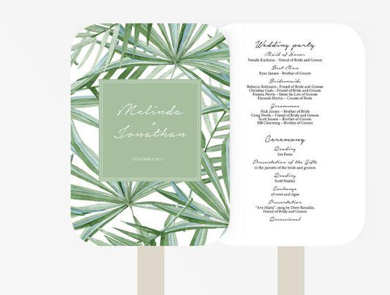 Wedding Fan Program Template Editable Word template Instant - editable leaf template
