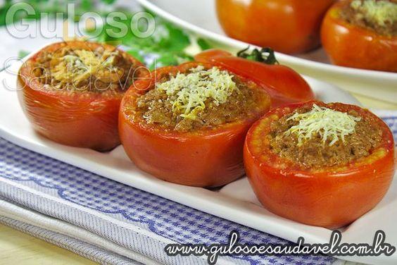 #BomDia! No #almoço temos estes Tomates Recheados com Carne são deliciosos, requintados, tentadores e muito fáceis. Bora fazer!  #Receita aqui: http://www.gulosoesaudavel.com.br/2013/04/24/tomates-recheados-com-carne/