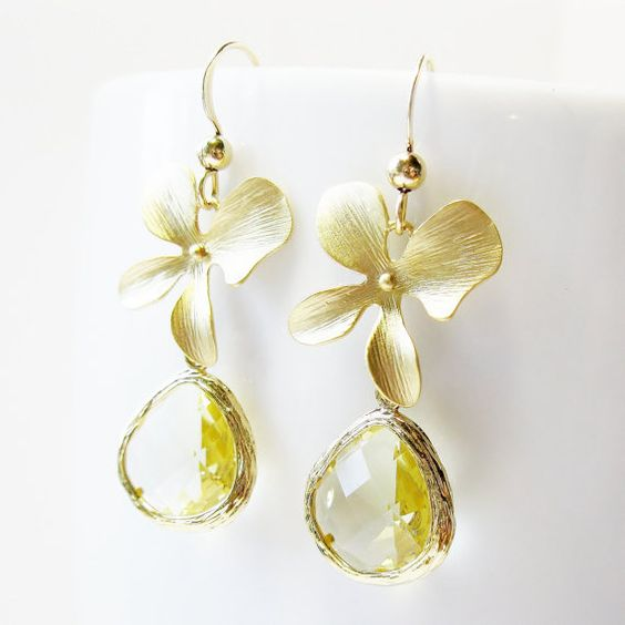 Yellow Citrine Blossom Earrings, 14k gold filled - Sunshine Yellow