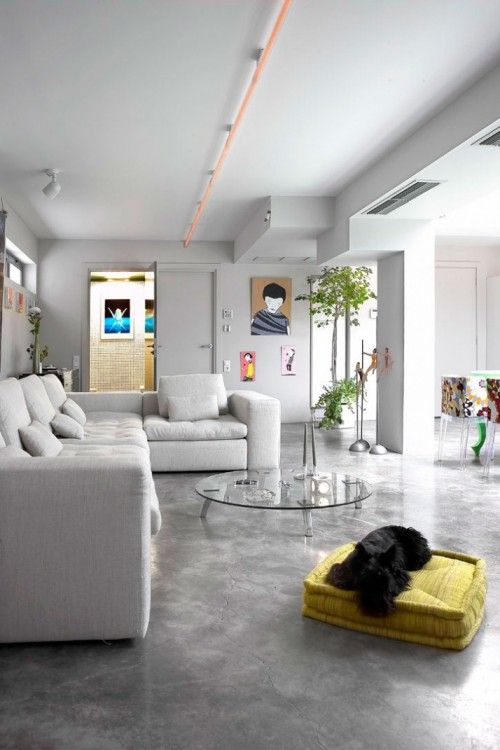 transformacin de un oscuro garaje en una casa cmoda y con estilo loft ideas para interiors and lofts - Suelo Cemento Pulido