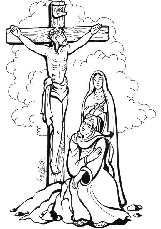 El Rincon De Las Melli Dibujo Maria Al Pie De La Cruz Crucifixion De Jesus Jesus Para Colorear La Cruz De Jesus