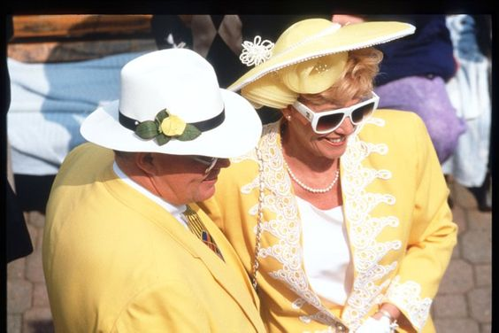 Pin for Later: Why Women Wear Fancy Hats at the Kentucky Derby  A woman matched her hat to her outfit and date in 1995.