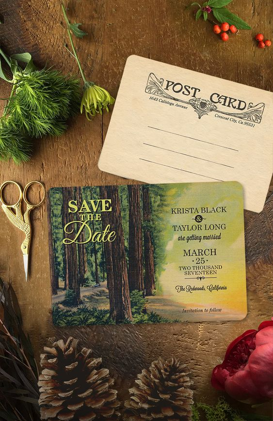 A perfect way to announce your woodland wedding-- with a vintage inspired save the date from GoGoSnap! Fully customizable to suit your needs? Visit www.gogosnap.com of click on the photo to visit Etsy shop and purchase.: