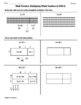 Printables Common Core Math Worksheets For 4th Grade 4 nbt 5 multiplying whole numbers4th grade common core math worksheets cores