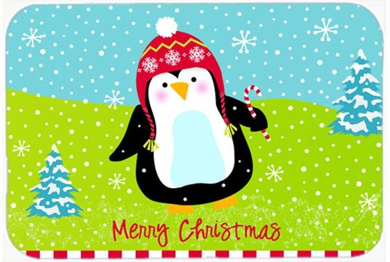 Merry Christmas Happy Penguin Mouse Pad, Hot Pad or Trivet VHA3015MP