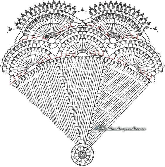 Схема вязания крючком большой салфетки для круглого столика