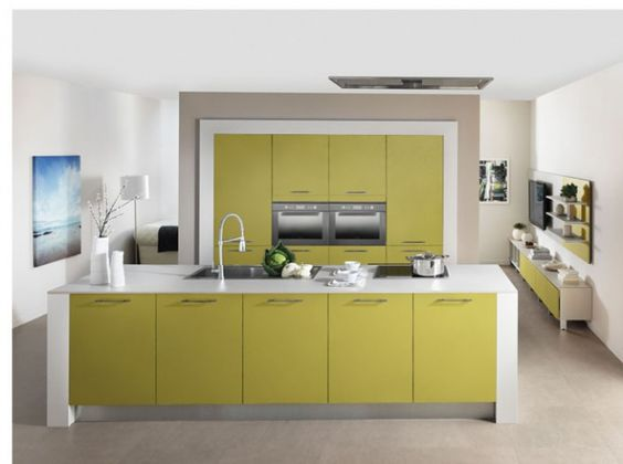 Cuisine color e vert olive schmidt cuisine kitchen for Deco cuisine coloree