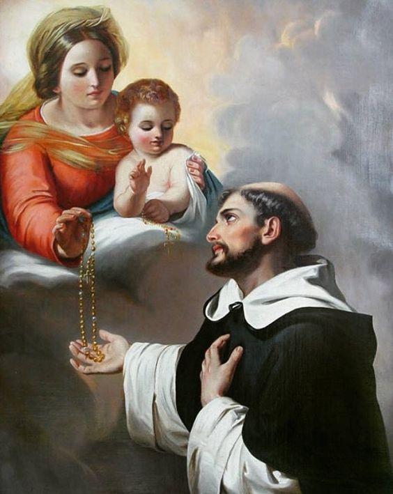 Santo Domingo recibe el Rosario de la Virgen.