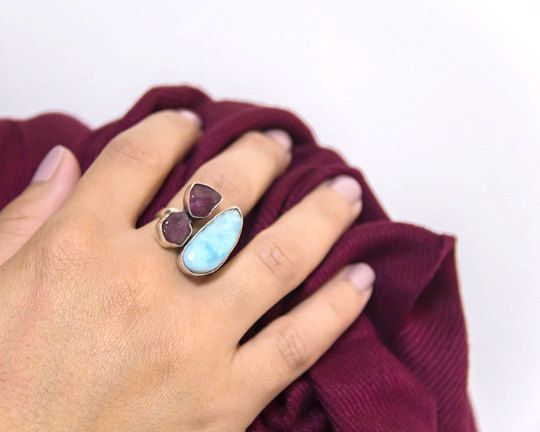 Big Gemstone Ring made of 925 sterling silver and by batyas