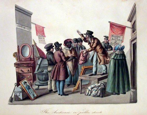 Nicolino Calyo (Italian-born American artist, 1799-1884) Auctioneer in the Public Streets New York City 1840-44