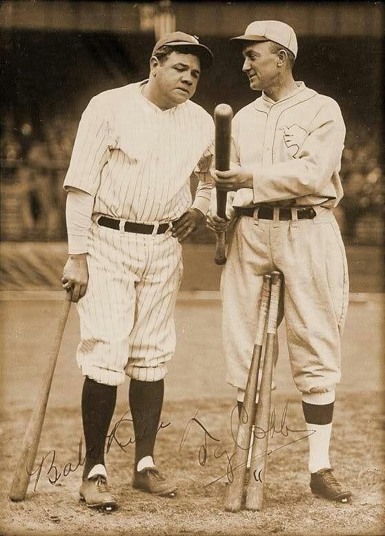 Babe Ruth, New York Yankees and Ty Cobb near the end of his career with the Philadelphia Athletics