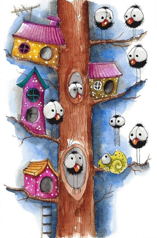 Original watercolor painting whimsical spider chameleon bird crow tree house #IllustrationArt: