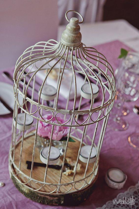 Tischdekoration mit vogelk fig holzscheibe und crash for Tischdekoration vintage