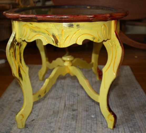 Upcycled Sunset Coffee Table: Daisies, side detail $150 A Sunset table is a table which is painted in such a way that, when put in southern-facing rooms with window light, glows underneath - just as the sun sets.