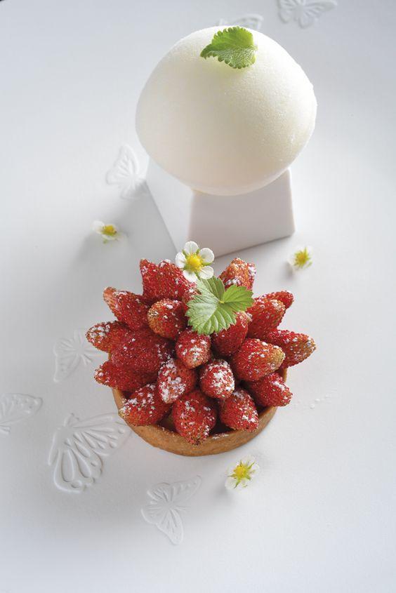 Wild strawberries w/ Jamaican Thyme + Mascarpone Dome by Richard Bourlon