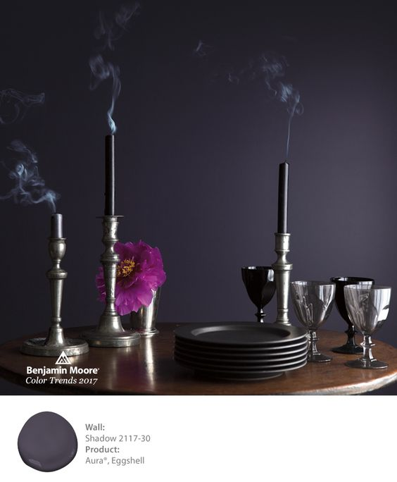 Add a dramatic flare to your dinner party. This wall is painted in Shadow 2117-30 with Aura, in an Eggshell Finish.