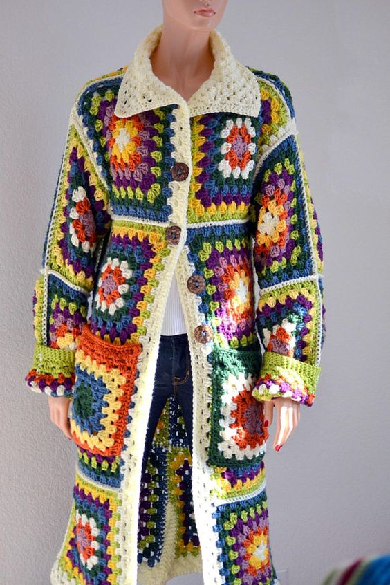 Hey, I found this really awesome Etsy listing at https://www.etsy.com/listing/218097954/granny-square-crochet-cardigan-long