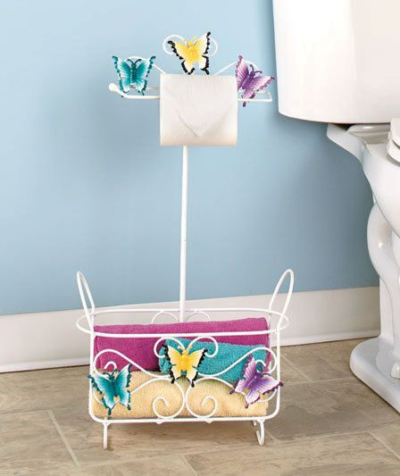 Best Bathroom Decor butterfly bathroom : Butterfly Bathroom Stand Metal Organizer Towel Rack with Basket ...
