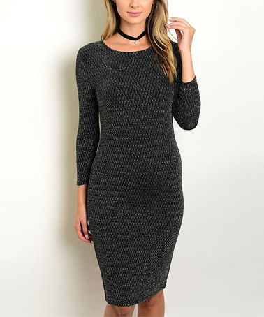 Black & Silver Long-Sleeve Bodycon Dress #zulily #zulilyfinds