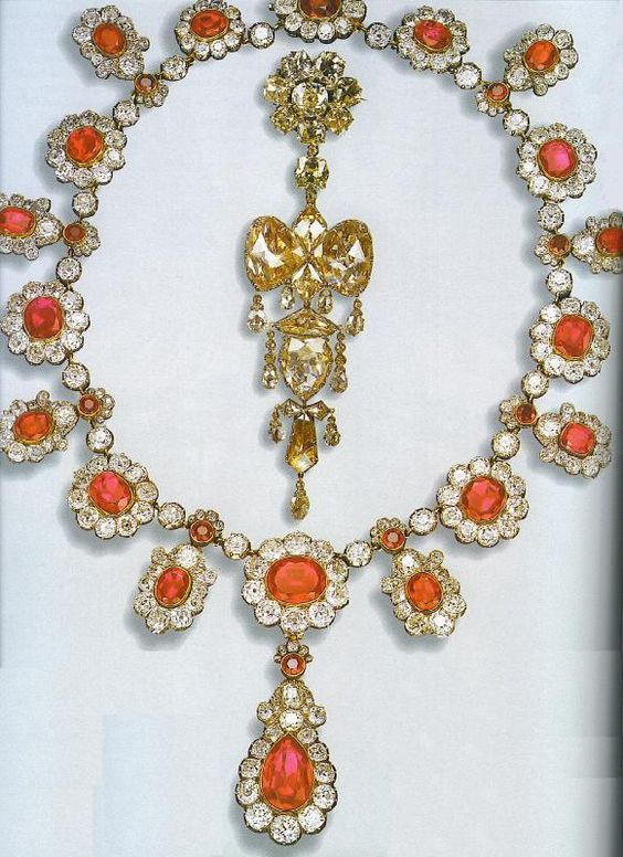 French Crown Jewels - Necklace (Mid-19th century. France. Gold, diamonds and rubies. Belonged to the Empress Eugenie,and was part of a huge parure.