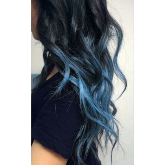 black to blue mermaid hair hair ❤ liked on Polyvore featuring hair, hairstyles and pictures