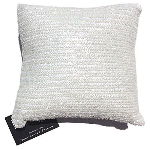 Nicole Miller Home Decorative Pillows : Nicole Miller Chevron Beaded Decorative Toss Pillow Cover Bugle Beads Accent Throw Pillow ...