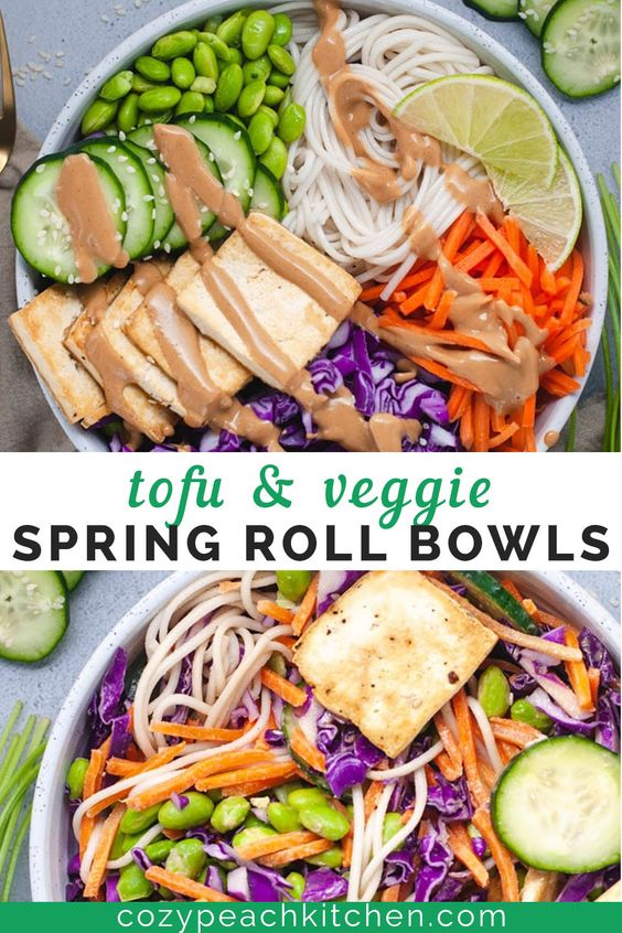 Tofu and Veggie Spring Roll Bowls