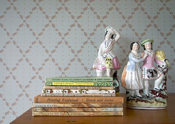 Flatback Staffordshire ornaments with St. Jude's 'Penton Villas' wallpaper pattern designed by Old Town.