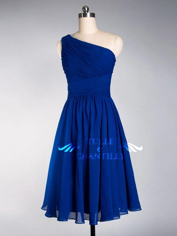 Pretty Royal Blue Tea Length One-shoulder Cocktail Bridesmaid ...