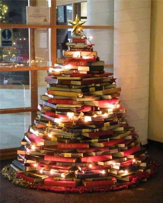 A Christmas tree made of books!