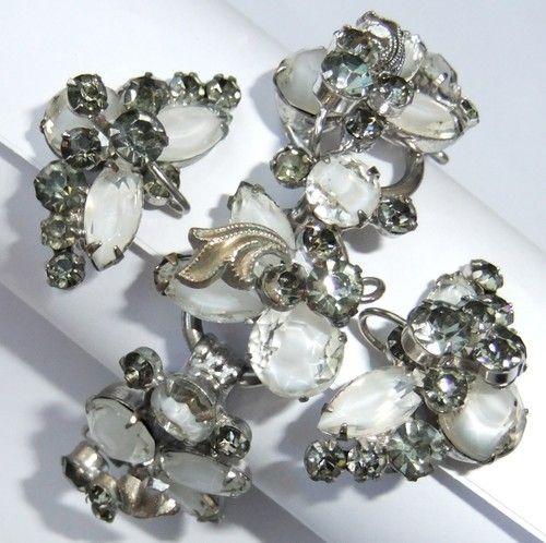 Vintage Juliana D E Crystal White Art Glass Smoke Rhinestone Bracelet Earrings | eBay