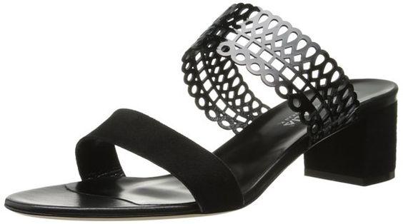 Aquatalia by Marvin K. Women's Carissa Dress Sandal, Black Combo Suede/Patent/Calf, 7.5 M US